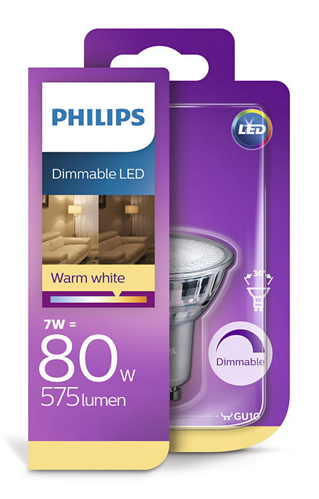 7W (80W) 575 lm 2700K 36° dimmējama LED spuldze PHILIPS GU10