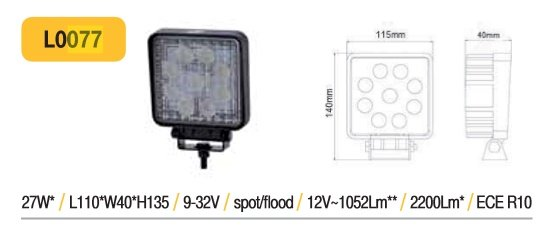 27W LED papildlukturis TruckLED L0077