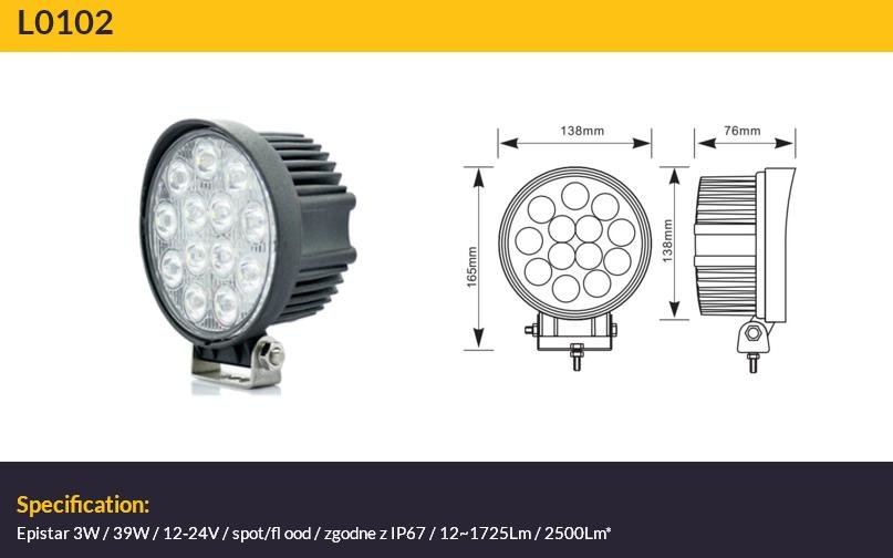 39W 2500lm 6500K LED papildlukturis TruckLED L0102