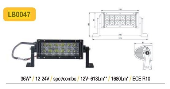 36W 1680lm 6500K LED papildlukturis TruckLED LB0047