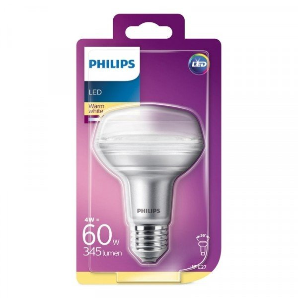 4W (60W) 2700K LED spuldze PHILIPS R80