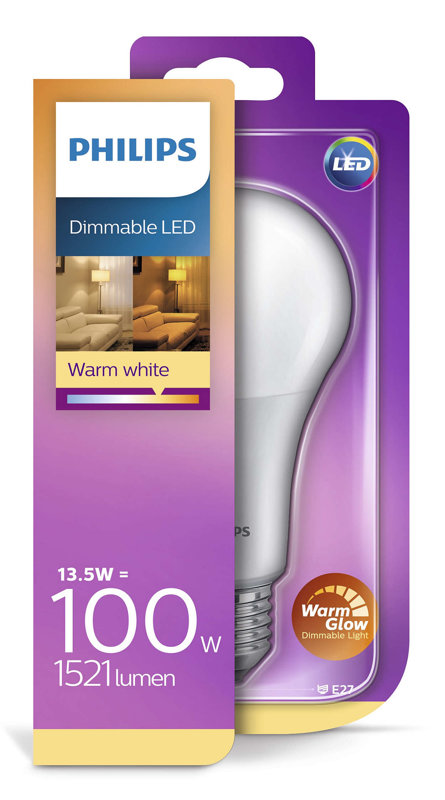 13,5W (100W) 2200-2700K dimmējama LED spuldze PHILIPS A67