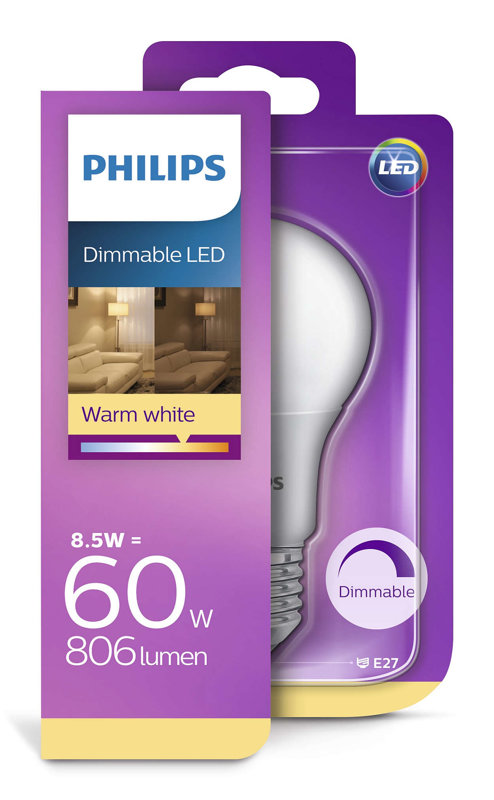 8,5W (60W) 2200-2700K dimmējama LED spuldze PHILIPS A60