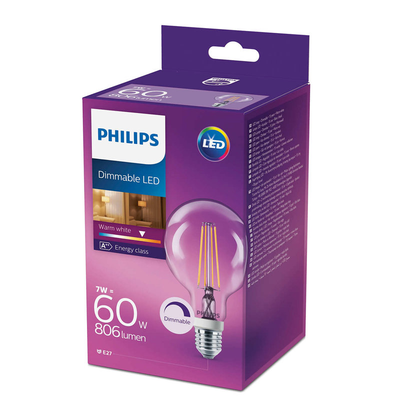 7W (60W) 2700K dimmējama LED filament spuldze PHILIPS G93
