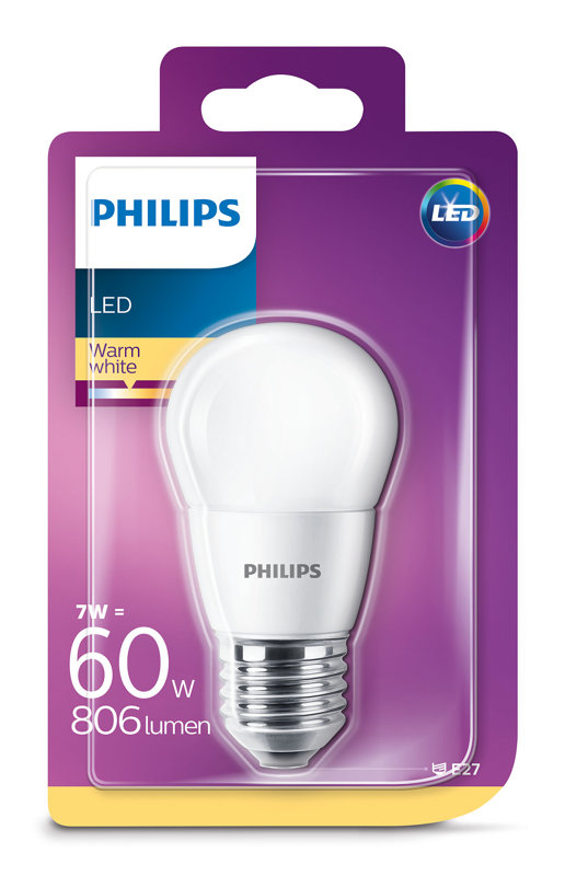 7W (60W) 2700K LED spuldze PHILIPS P45