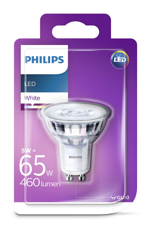 5W (65W) 3000K LED spuldze PHILIPS GU10