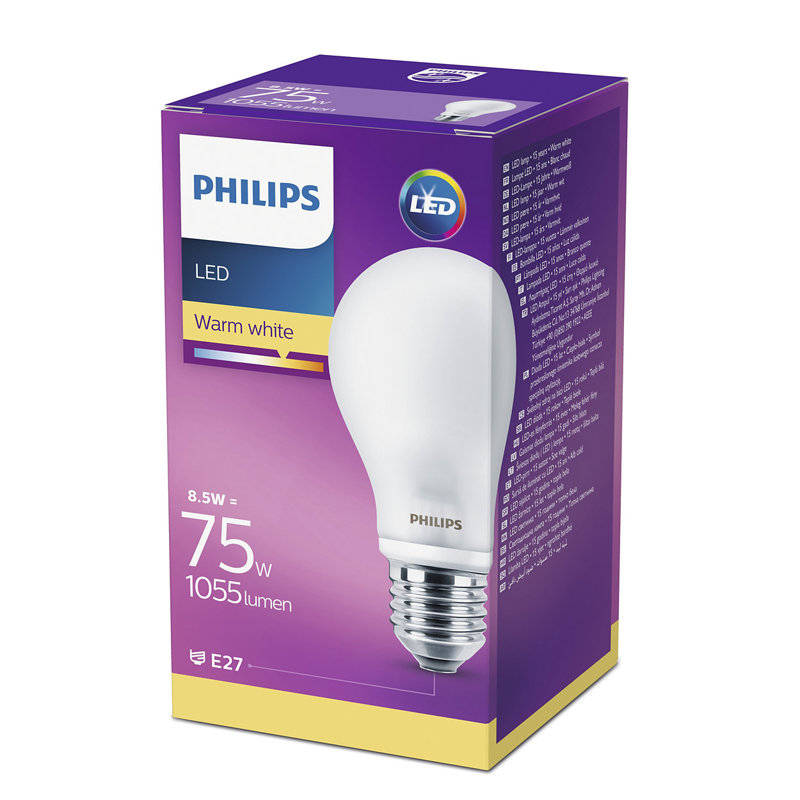 8,5W (75W) 2700K LED spuldze PHILIPS A60
