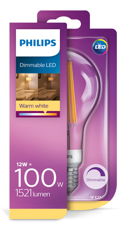 12W (100W) 2700lm dimmējama LED filament spuldze PHILIPS A67