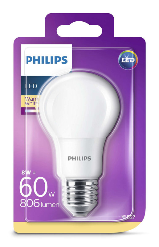 8W (60W) 2700K LED spuldze PHILIPS A60