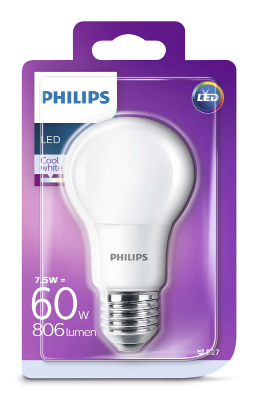7,5W (60W) 4000K LED spuldze PHILIPS A60