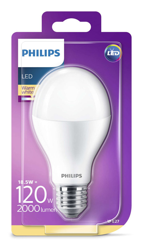 18,5W (120W) 2700K LED spuldze PHILIPS A67