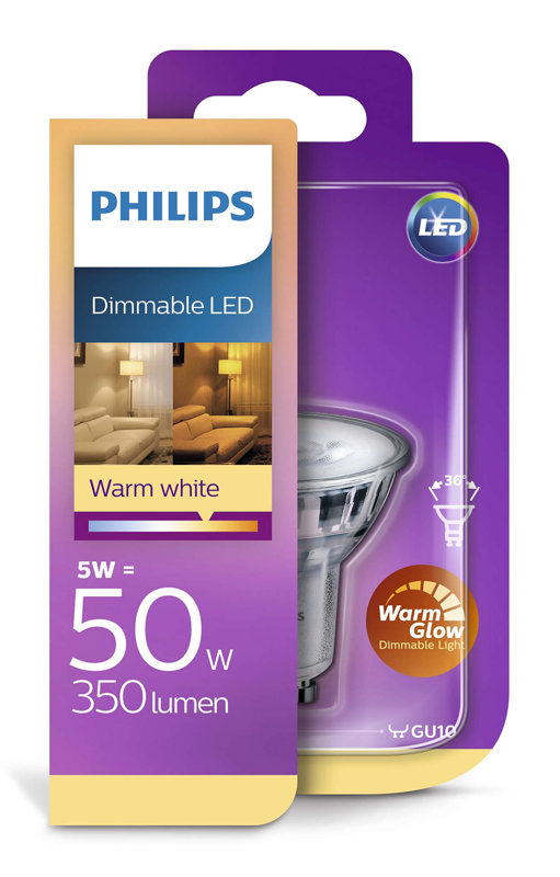 3,8W (50W) 345 lm 2200-2700K 36° dimmējama LED spuldze PHILIPS GU10