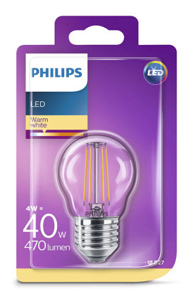 4W (40W) 2700K LED filament spuldze PHILIPS P45