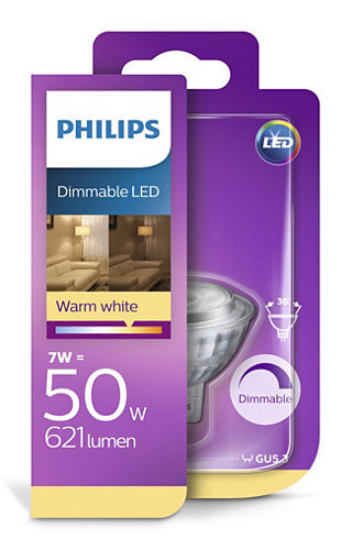 7W (50W) dimmējama LED spuldze PHILIPS MR16
