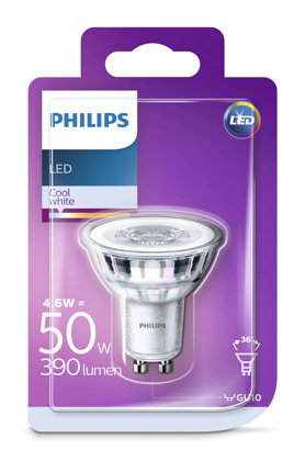 4,6W (50W) 390 lm 4000K 36° LED spuldze PHILIPS GU10