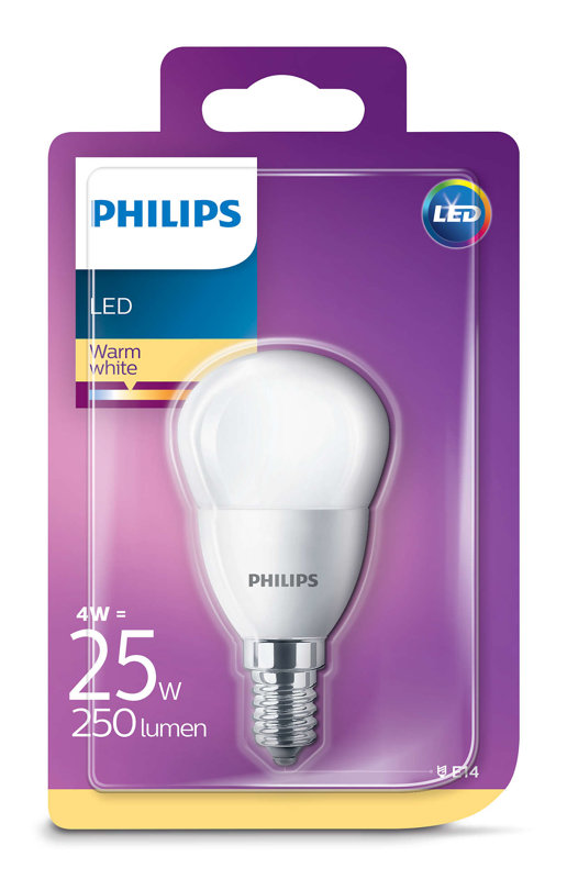 4W (25W) 2700K LED spuldze PHILIPS P45