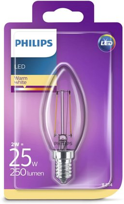 2W (25W) 2700K LED filament spuldze PHILIPS B35
