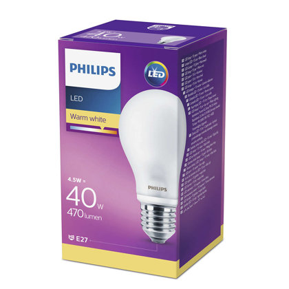 4,5W (40W) 2700K LED spuldze PHILIPS A60