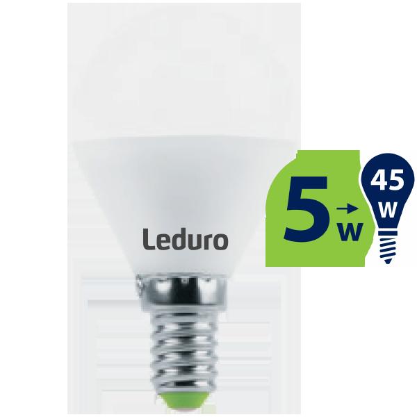 5W (45W) 2700K nemirgojoša LED spuldze LEDURO G45