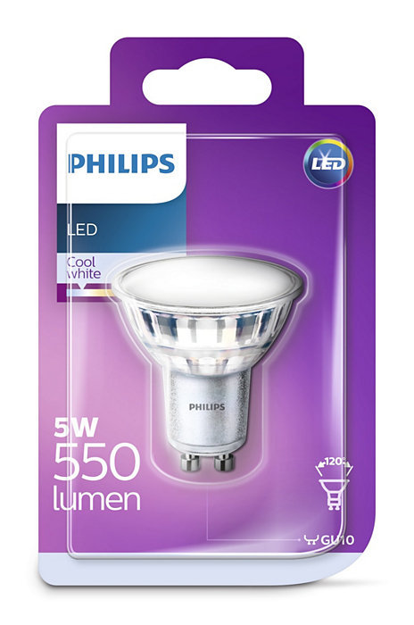 5W (65W) 550 lm 4000K 120°LED spuldze PHILIPS GU10