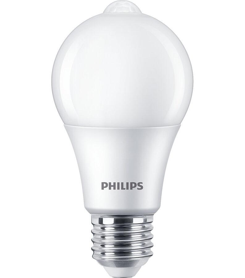 8W (60W) 2700K LED spuldze PHILIPS ar kustības sensoru A60