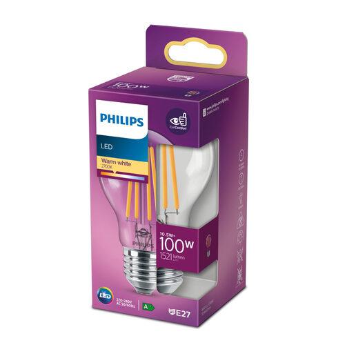 10.5W (100W) 2700K LED filament spuldze PHILIPS A60