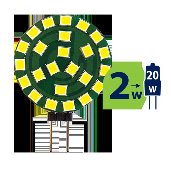2W (20W) 3000K LED spuldze LEDURO G4