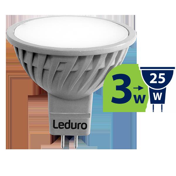 3W (25W) 250lm 3000K LED spuldze LEDURO MR16