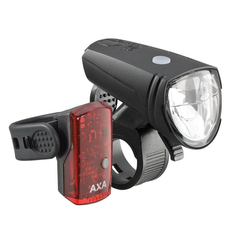 15 lux LED velosipēda lukturu komplekts AXA GREENLINE ar akumulatoru