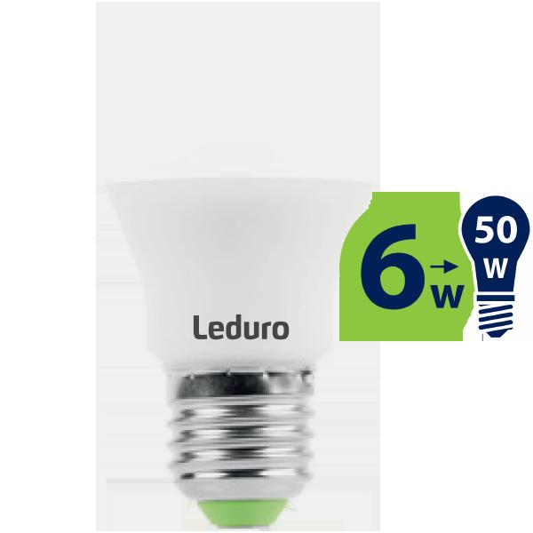 6W (50W) 2700K nemirgojoša LED spuldze LEDURO A55