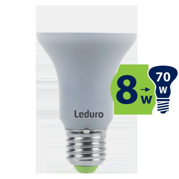 8W (70W) 3000K nemirgojoša LED spuldze LEDURO R63