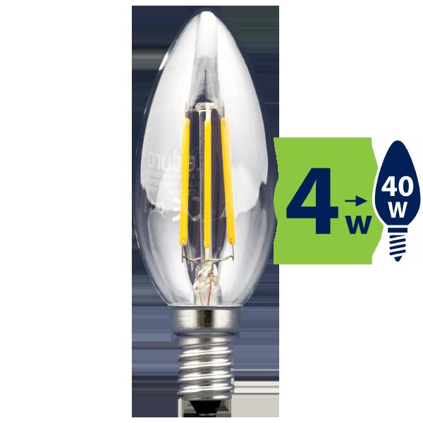 4W (40W) 2700K LED filament spuldze LEDURO B35