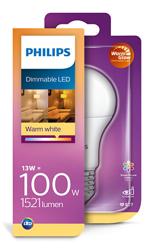 13W (100W) 2200-2700K CRI90 dimmējama LED spuldze PHILIPS A60
