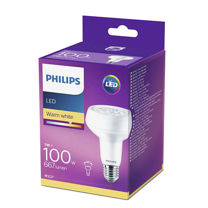7W (100W) 2700K LED spuldze PHILIPS R80