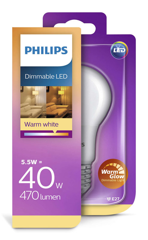 6W (40W) 2200-2700K dimmējama LED spuldze PHILIPS A60