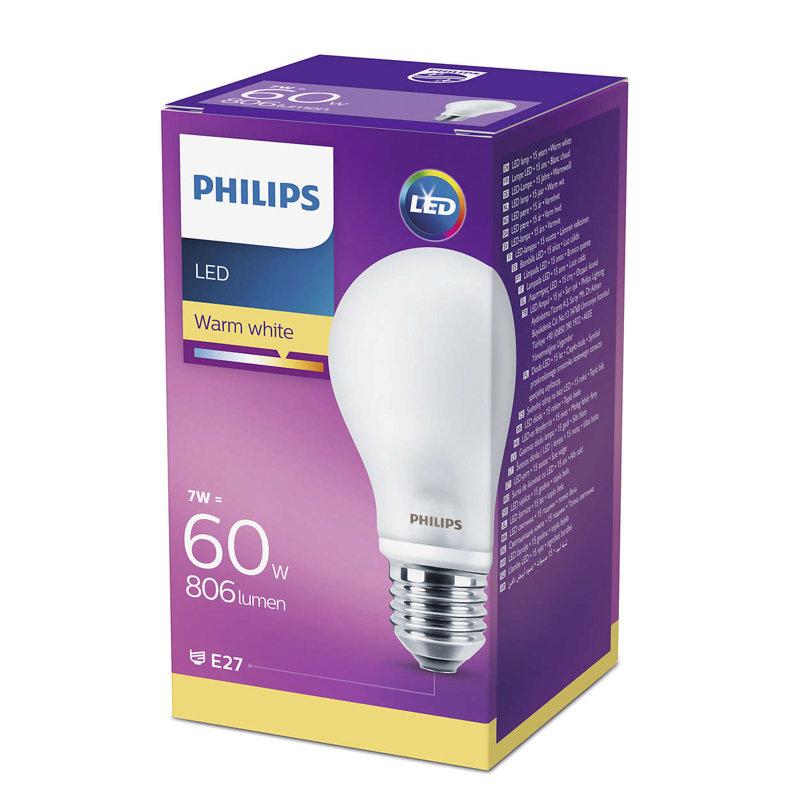 7W (60W) 2700K nemirgojoša LED spuldze PHILIPS A60