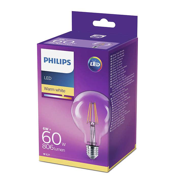 7W (60W) 2700K LED filament spuldze PHILIPS G93