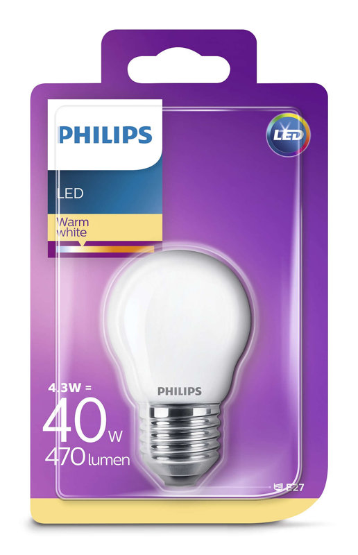 4,3W (40W) 2700K LED filament spuldze PHILIPS P45