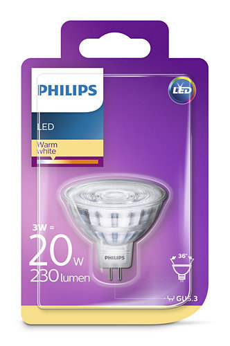 3W (20W) 230lm 2700K LED spuldze PHILIPS MR16