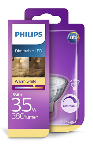 5W (35W) 380lm 2700K dimmējama LED spuldze PHILIPS MR16