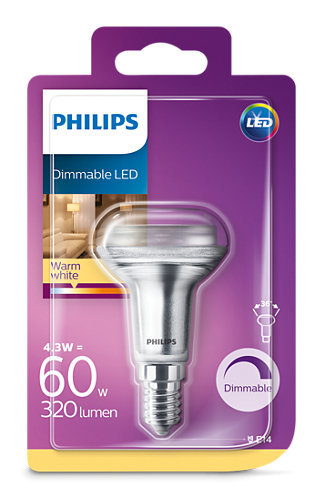 4,3W (60W) 2700K dimmējama LED spuldze PHILIPS R50