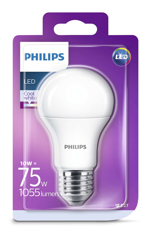 10W (75W) 4000K LED spuldze PHILIPS A60