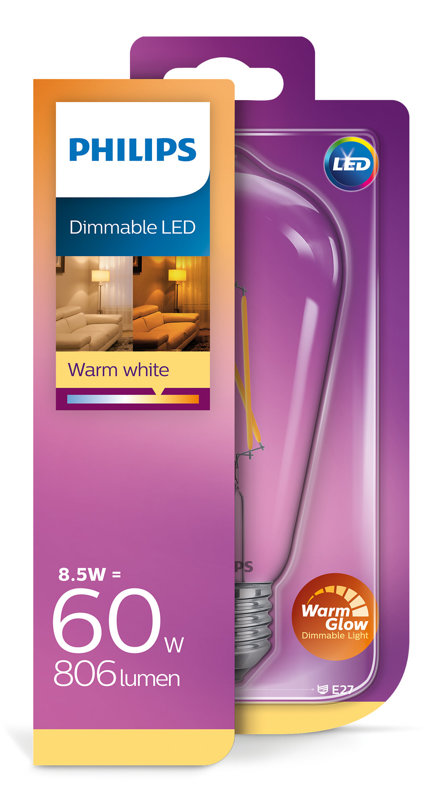 8,5W (60W) 2200-2700K dimmējama LED spuldze PHILIPS ST64
