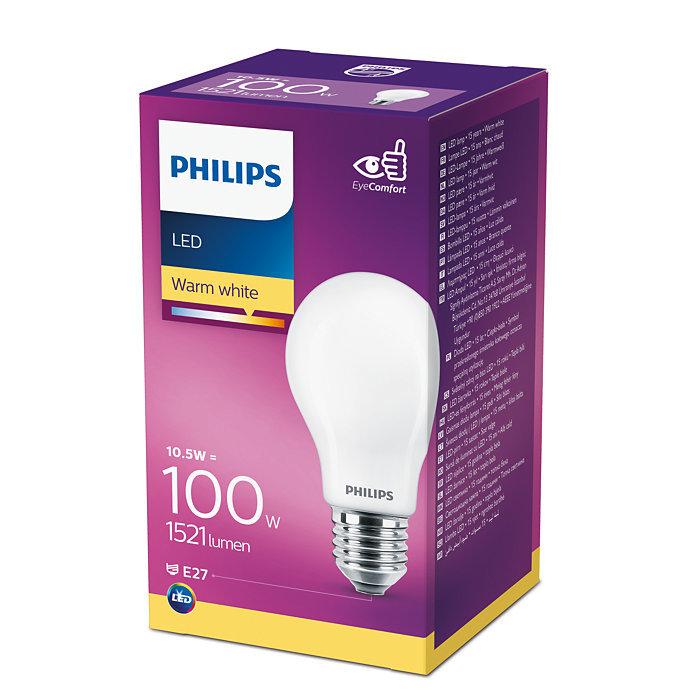 10.5W (100W) 2700K nemirgojoša LED spuldze PHILIPS A60