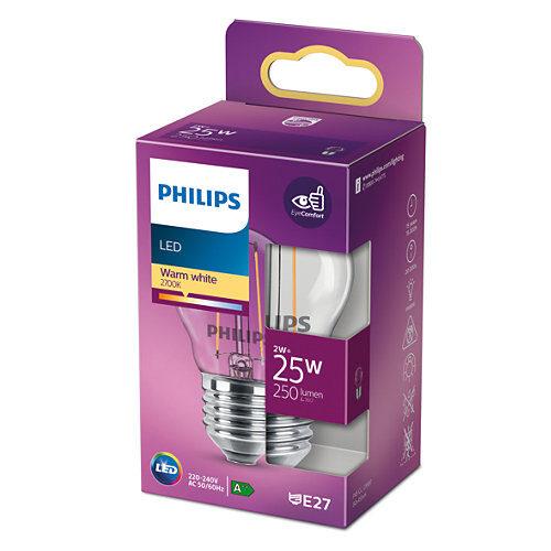 2W (25W) 2700K nemirgojoša LED filament spuldze PHILIPS P45