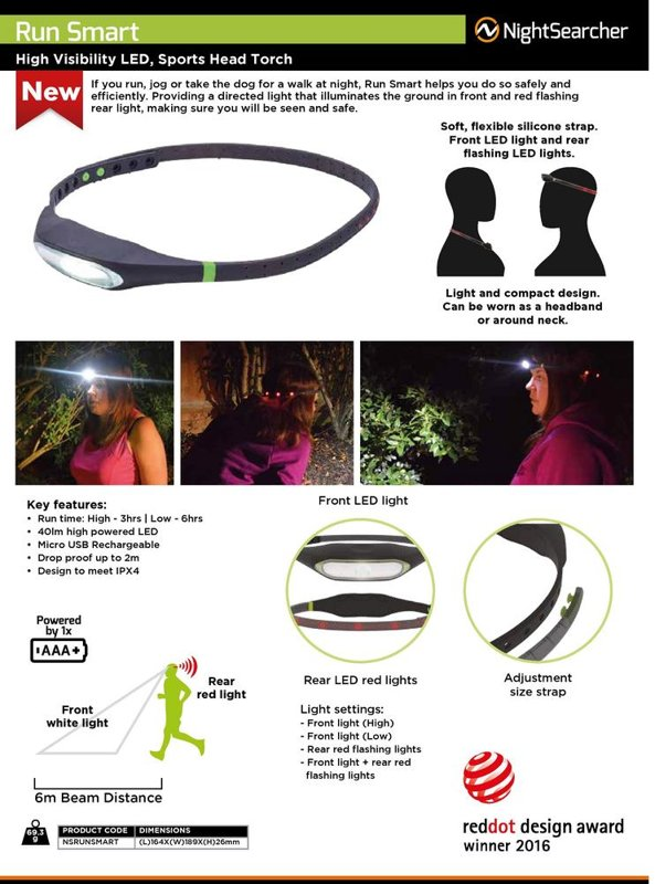 40lm LED galvas lukturis NightSearcher RUNSMART