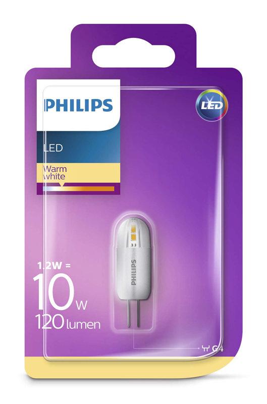 1,2W (10W) 2700K LED spuldze PHILIPS G4
