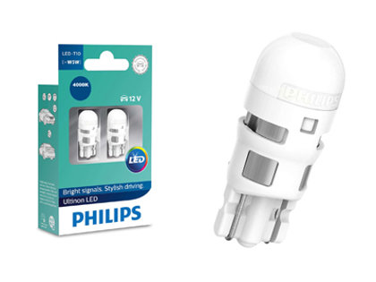 0.6W 50lm 4000K LED auto spuldze Philips Unltinon T10 (2 gab.)