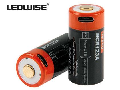 LEDWISE 16340/RCR123A lādējama baterija (2 gab.)