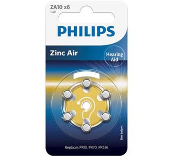 PHILIPS ZA10 dzirdes aparātu baterijas (6 gab.)